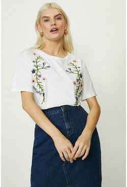 White Trailing Floral Embroidered T Shirt