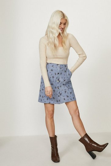 Blue Ditsy Baby Cord Popper Front Skirt