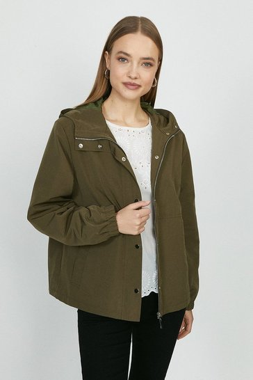 Khaki Zip Through Lightweight Jacket