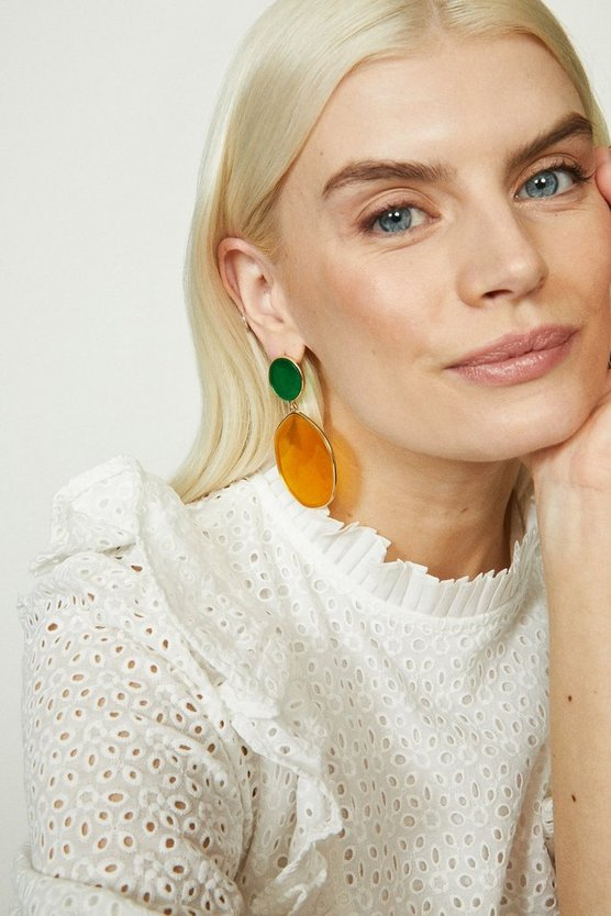 Orange Abstract Double Circle Earrings