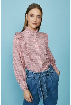 Pink Check High Neck Shirt