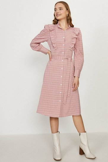 Pink Check High Neck Dress