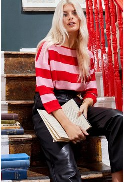 Red Nautical Stripe Crew Jumper 3/4 Sleeve