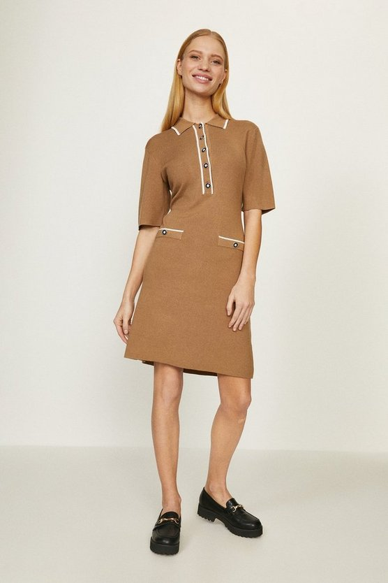 Camel Knitted Polo Dress With Trims