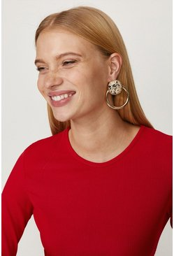 Gold Printed Double Hoop Earrings