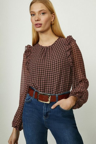 Pink Textured Mini Check Blouse