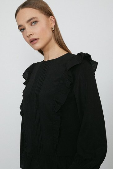 Black Textured Pintuck Detail Blouse