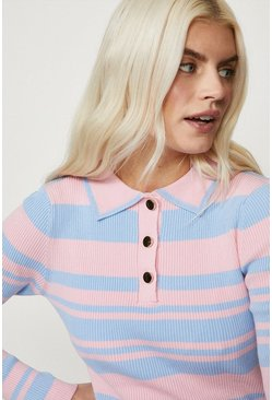 Pink Knitted Long Sleeve Polo