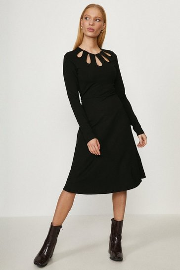 Black Cut Out Detail Ponte Dress