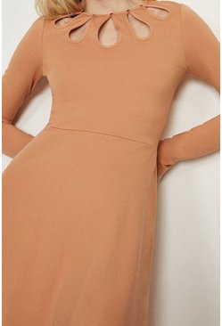 Camel Cut Out Detail Ponte Dress