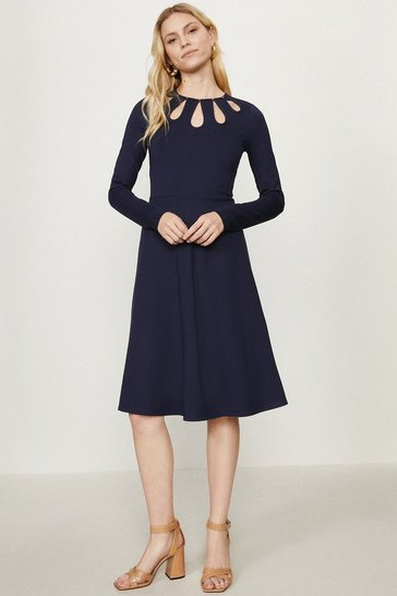 Navy Cut Out Detail Ponte Dress