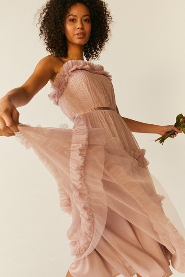 Blush Tiered Ruffle Skirt Midi Dress