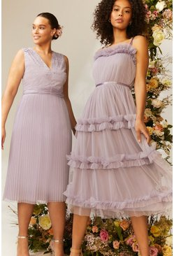 Lilac Tiered Ruffle Skirt Midi Dress