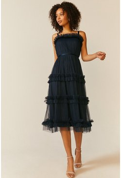 Navy Tiered Ruffle Skirt Midi Dress