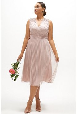 Blush Curve V Neck Pleated Skirt Sequin Midi Dress