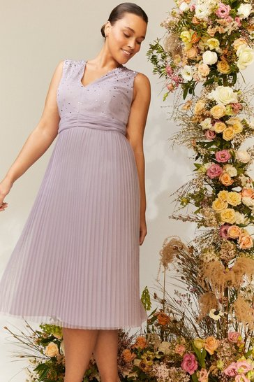 Lilac Curve V Neck Pleated Skirt Sequin Midi Dress