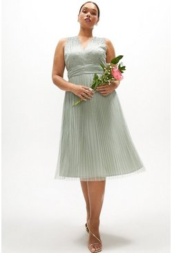 Sage Curve V Neck Pleated Skirt Sequin Midi Dress