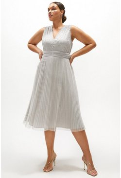 Silver Curve V Neck Pleated Skirt Sequin Midi Dress