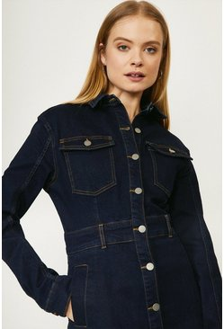 Indigo Button Through Denim Dress