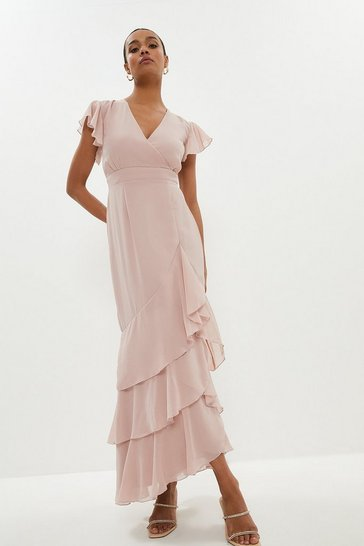 Blush Tiered Hem Ruffle Maxi Dress