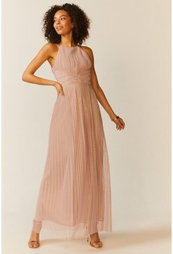 Blush All Over Pleated Maxi Dress