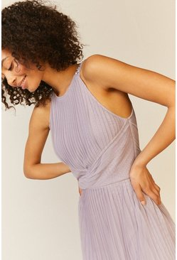Lilac All Over Pleated Maxi Dress