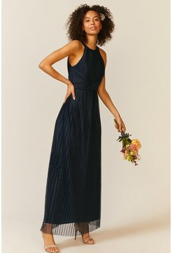 Navy All Over Pleated Maxi Dress