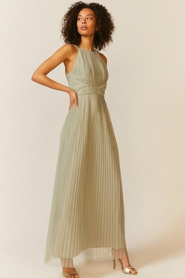 Sage All Over Pleated Maxi Dress