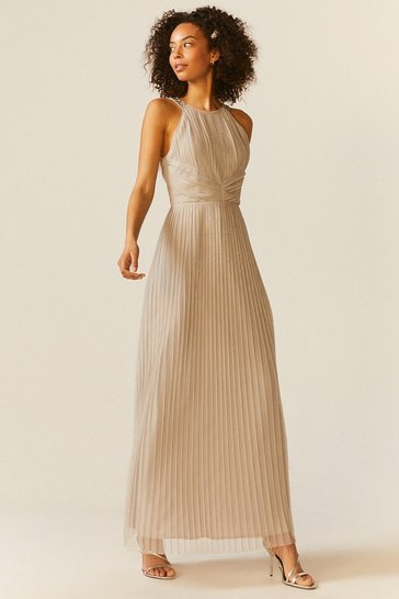 Silver All Over Pleated Maxi Dress