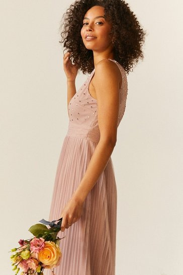 Blush V Neck Pleated Skirt Sequin Midi Dress