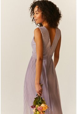 Lilac V Neck Pleated Skirt Sequin Midi Dress