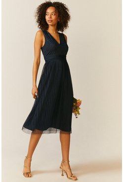Navy V Neck Pleated Skirt Sequin Midi Dress