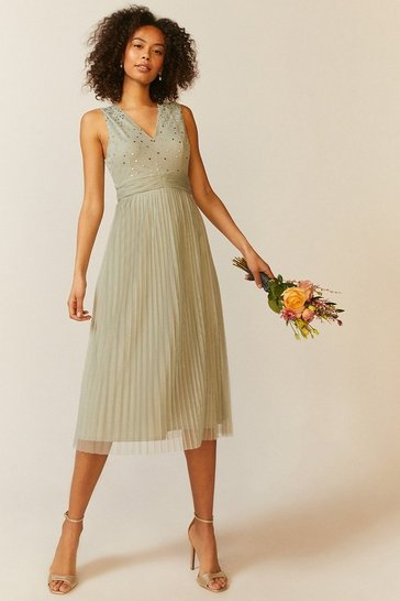 Sage V Neck Pleated Skirt Sequin Midi Dress