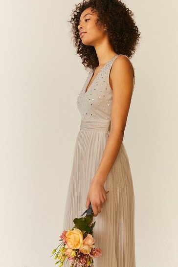 Silver V Neck Pleated Skirt Sequin Midi Dress