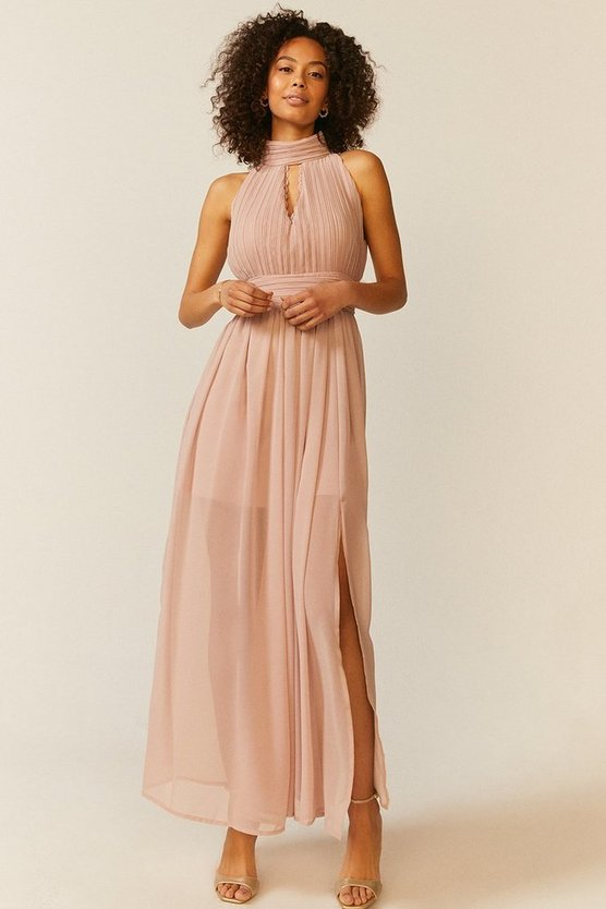 Blush High Neck Cut Out Maxi Dress
