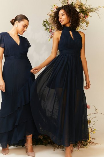 Navy High Neck Cut Out Maxi Dress