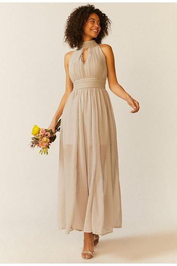 Silver High Neck Cut Out Maxi Dress