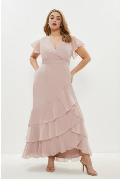 Blush Curve Ruffle Hem Tiered Maxi Dress