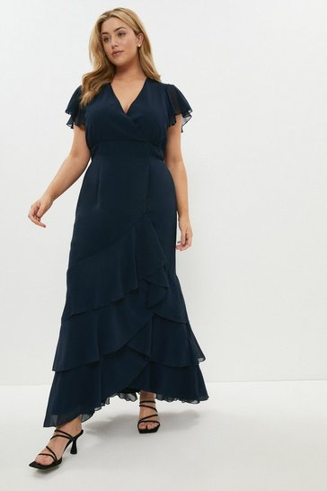 Navy Curve Ruffle Hem Tiered Maxi Dress