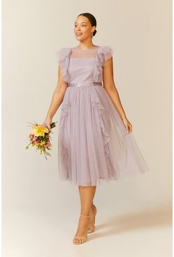 Lilac Curve Shoulder Ruffle Mesh Pleated Midi Dress