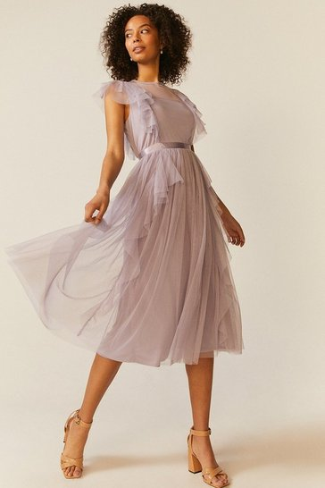 Lilac Shoulder Ruffle Mesh Pleated Midi Dress