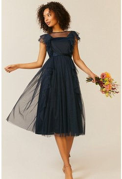 Navy Shoulder Ruffle Mesh Pleated Midi Dress