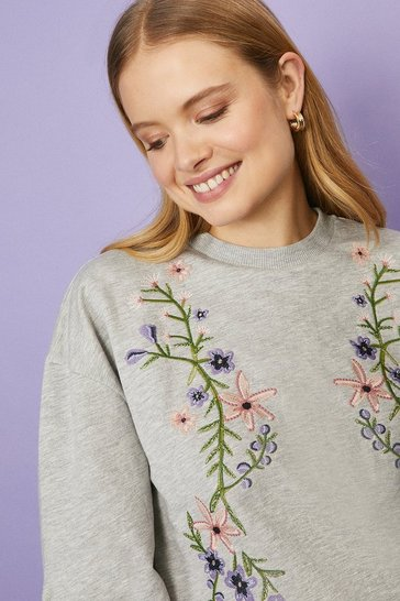 Grey marl Trailing Floral Sweatshirt