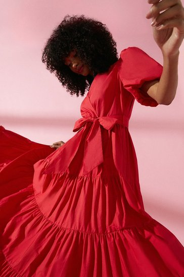 Red Tiered Cotton Poplin Maxi Dress