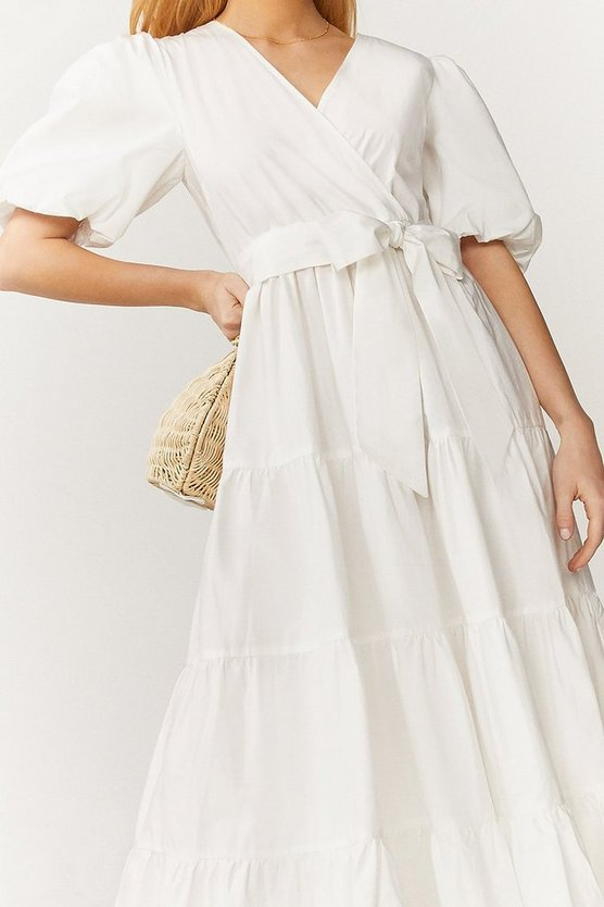 White Tiered Cotton Poplin Maxi Dress