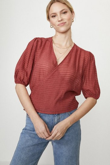 Red Textured Stripe Blouse