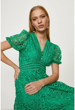 Green Lace V Neck Midi Dress