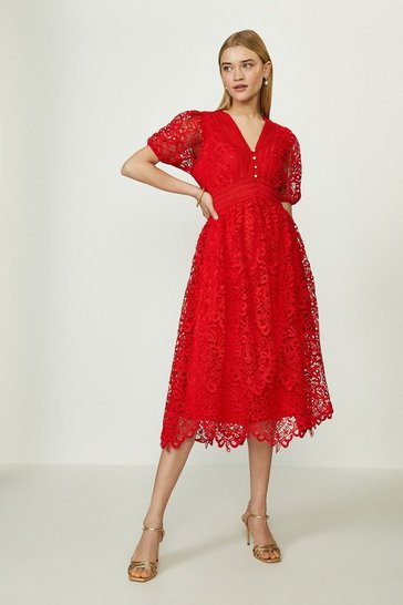 Red Lace V Neck Midi Dress