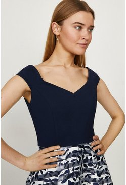 Navy Clipped Jaquard Stripe Dress