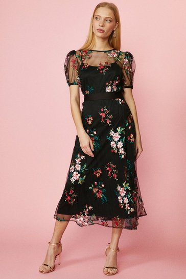 Red Puff Sleeve Embroidered Floral Dress